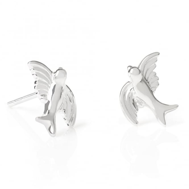 Daisy London Sterling Silver Swooping Bird Stud Earrings