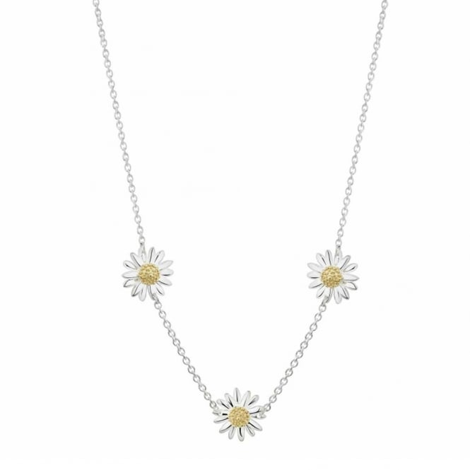 Daisy London Sterling Silver Triple English Daisy Necklace