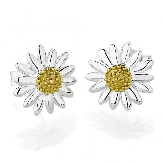 Daisy London Sterling Silver & Yellow Gold Plated 10mm Classic Daisy Stud Earrings