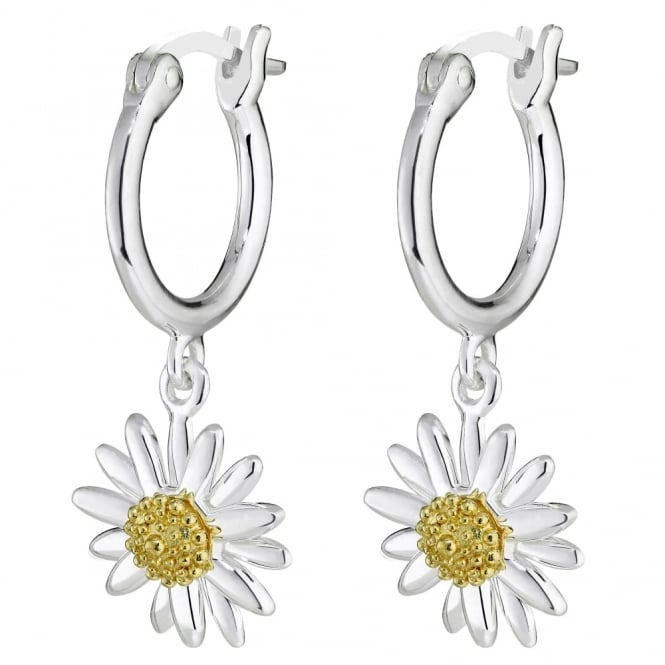 Daisy London Sterling Silver & Yellow Gold Plated 10mm Daisy Drop Earrings