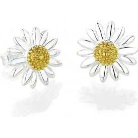 Sterling Silver & Yellow Gold Plated 12mm Classic Daisy Stud Earrings