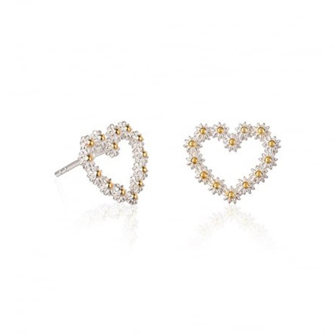 Daisy London Sterling Silver & Yellow Gold Plated 14mm Iota Medium Heart Stud Earrings