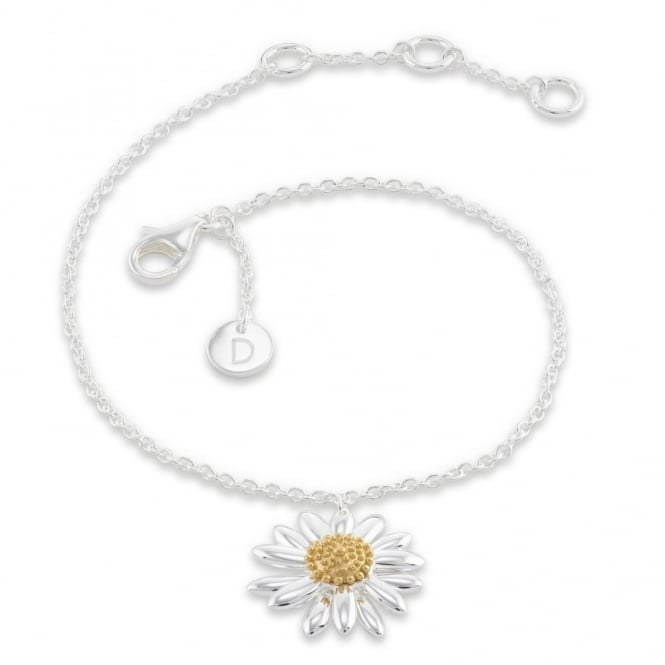 Daisy London Sterling Silver & Yellow Gold Plated 15mm Daisy Drop Bracelet