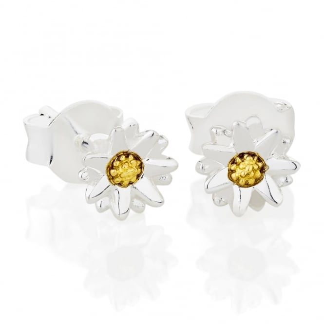 Daisy London Sterling Silver & Yellow Gold Plated 5mm New Daisy Stud Earrings