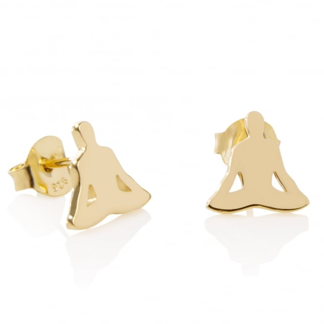 Daisy London Sterling Silver & Yellow Gold Plated Buddha Good Karma Stud Earrings