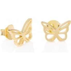 Sterling Silver & Yellow Gold Plated Butterfly Good Karma Stud Earrings