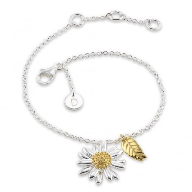 Daisy London Sterling Silver & Yellow Gold Plated Classic Daisy & Feather Drop Bracelet