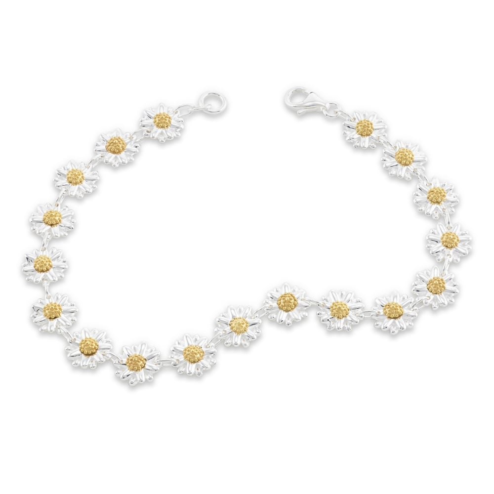 eebbaf3bb82b Sterling Silver  amp  Yellow Gold Plated Eighteen Daisy Chain Bracelet
