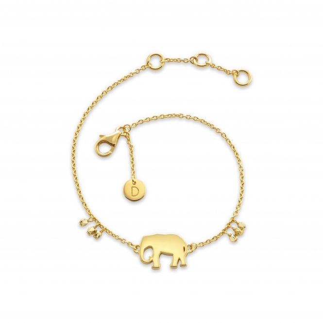 Daisy London Sterling Silver & Yellow Gold Plated Elephant Good Karma Bracelet