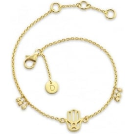 Sterling Silver & Yellow Gold Plated Hand Of Fatima Good Karma Chain Bracelet
