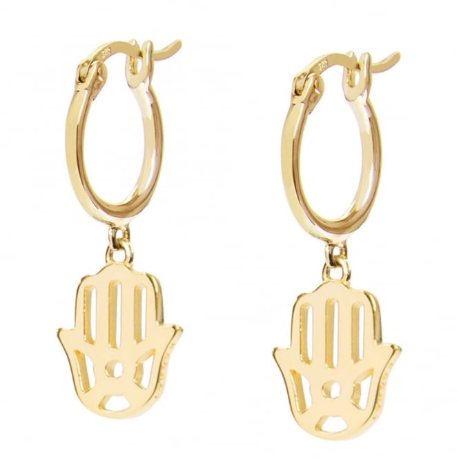 Daisy London Sterling Silver & Yellow Gold Plated Hand Of Fatima Good Karma Drop Earrings
