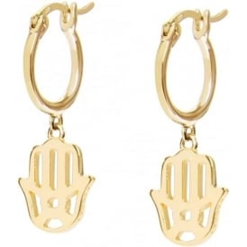 Sterling Silver & Yellow Gold Plated Hand Of Fatima Good Karma Drop Earrings