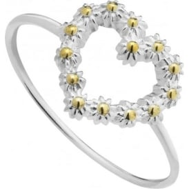 Sterling Silver & Yellow Gold Plated Iota Daisy Heart Ring