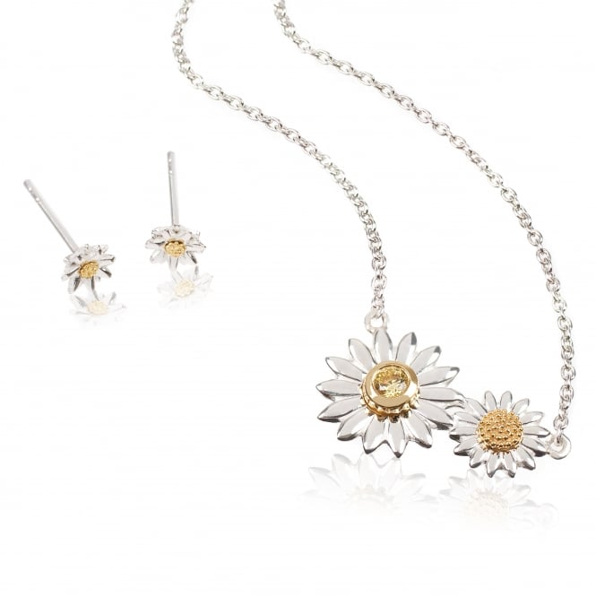 Daisy London Sterling Silver & Yellow Gold Plated Mothers Day Necklace & Earring Daisy Gift Set