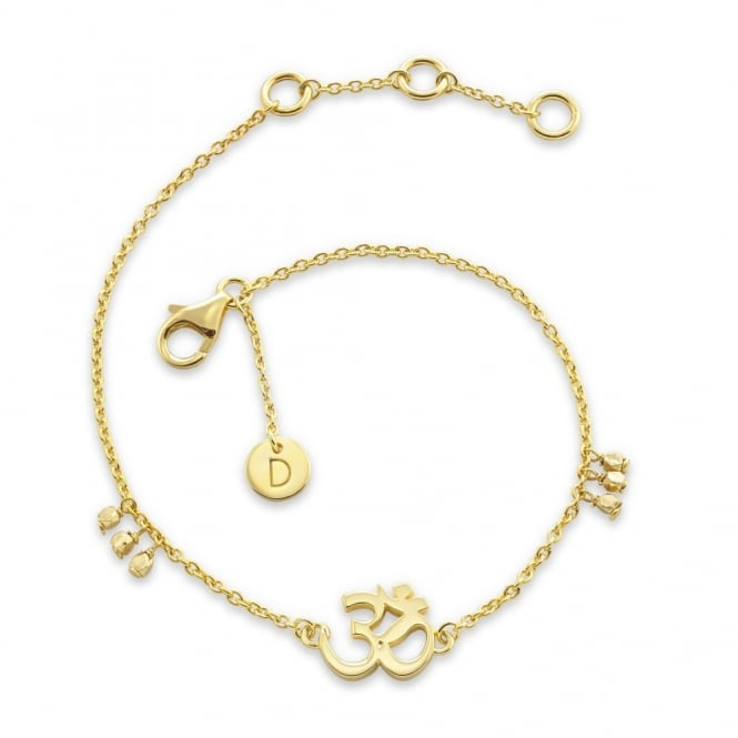 Daisy London Sterling Silver & Yellow Gold Plated Om Good Karma Chain Bracelet