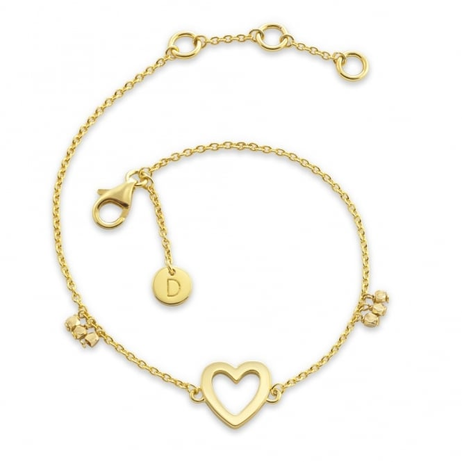 Daisy London Sterling Silver & Yellow Gold Plated Open Heart Good Karma Chain Bracelet