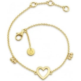 Sterling Silver & Yellow Gold Plated Open Heart Good Karma Chain Bracelet
