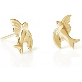 Sterling Silver & Yellow Gold Plated Swooping Bird Stud Earrings