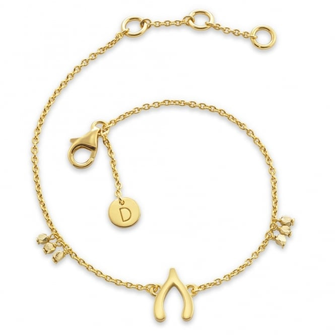 Daisy London Sterling Silver & Yellow Gold Plated Wishbone Good Karma Chain Bracelet