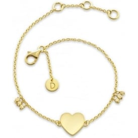 Yellow Gold Large Heart Good Karma Chain Bracelet