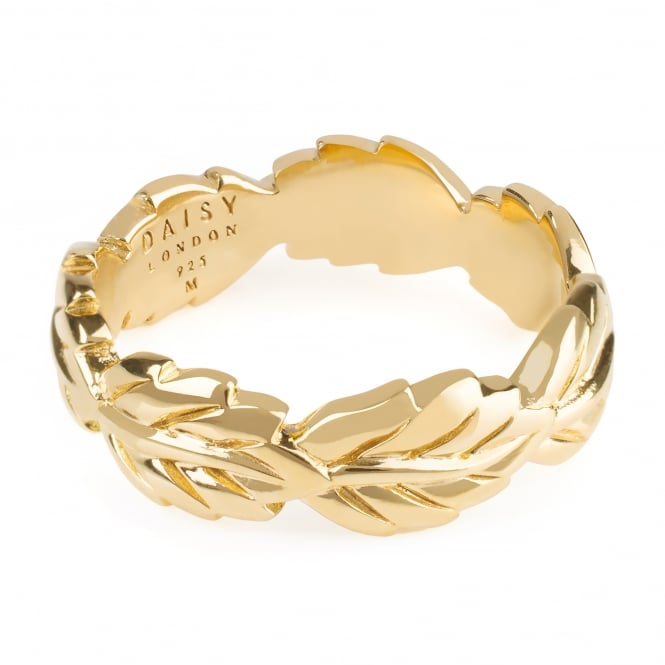 Daisy London Yellow Gold Plated Garland Leaf Ring