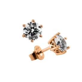 Rose Gold Plated 1ct Solitaire Stud Earrings