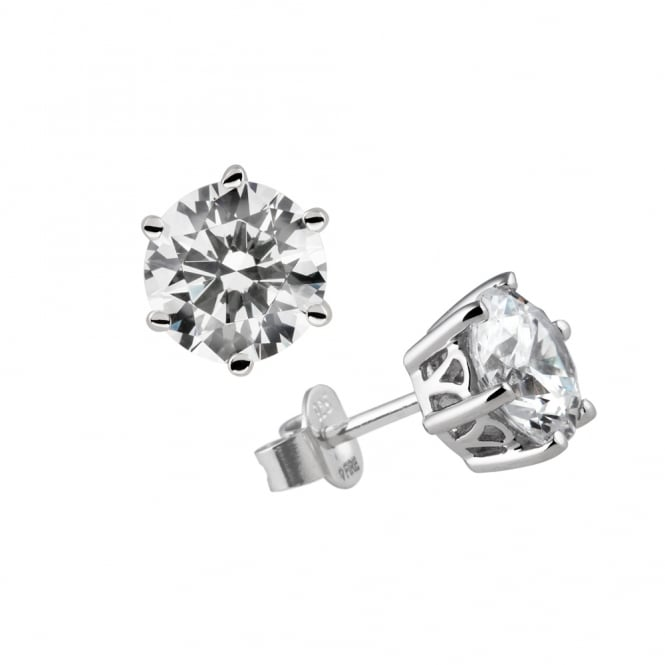 Diamonfire Sterling Silver 2ct Solitaire Stud Earrings