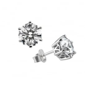 Sterling Silver 2ct Solitaire Stud Earrings
