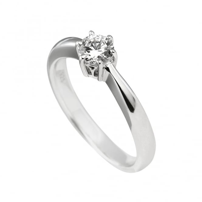 Diamonfire Sterling Silver 6 Claw Solitaire Ring