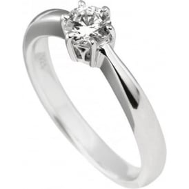 Sterling Silver 6 Claw Solitaire Ring