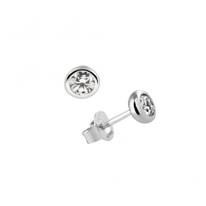 Diamonfire Sterling Silver & CZ Rubover Stud Earrings