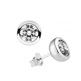 Sterling Silver & CZ Rubover Stud Earrings