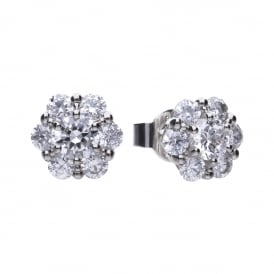 Sterling Silver Floral CZ Cluster Stud Earrings