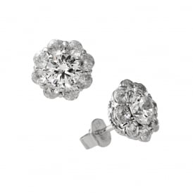 Sterling Silver Flower Cluster Stud Earrings