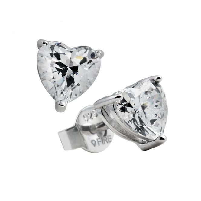 Diamonfire Sterling Silver Heart Cut CZ Stud Earrings