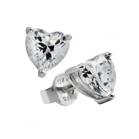 Sterling Silver Heart Cut CZ Stud Earrings