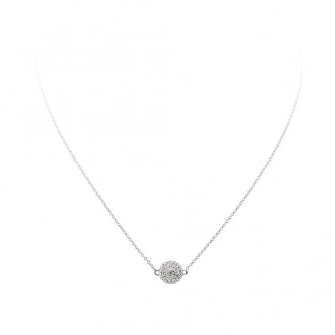 Diamonfire Sterling Silver Pave Disc Necklace