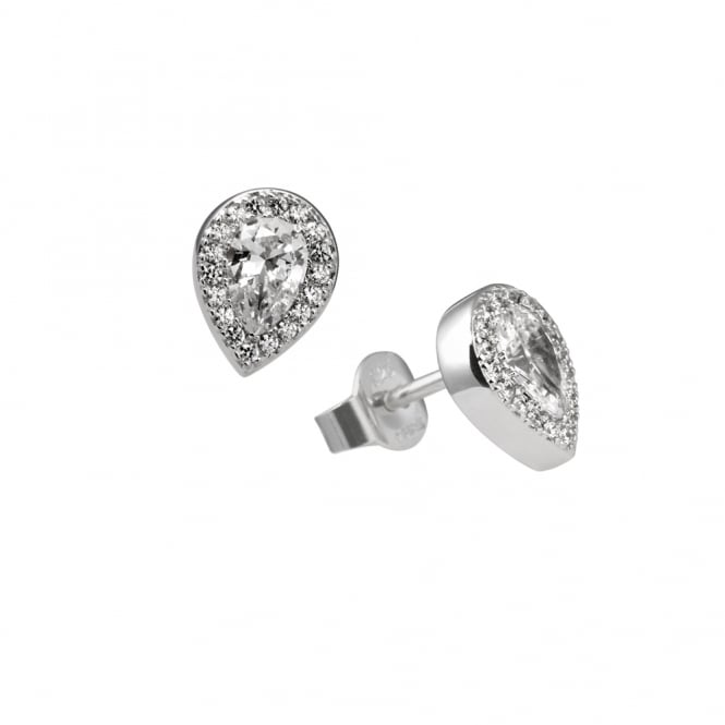 Diamonfire Sterling Silver Pear Cluster Stud Earrings