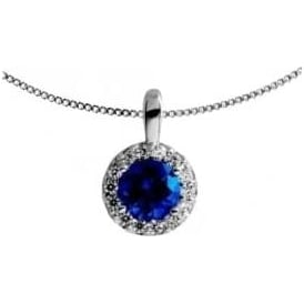 Sterling Silver Royal Blue Cluster Necklace