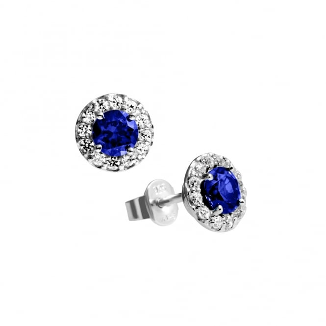 Diamonfire Sterling Silver Royal Blue Cubic Zirconia Cluster Studs