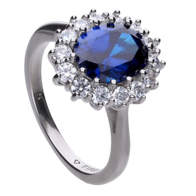 Diamonfire Sterling Silver Royal Blue CZ Cluster Ring
