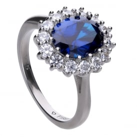 Sterling Silver Royal Blue CZ Cluster Ring