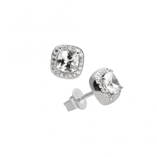 Diamonfire Sterling Silver Square Set Stud Earrings