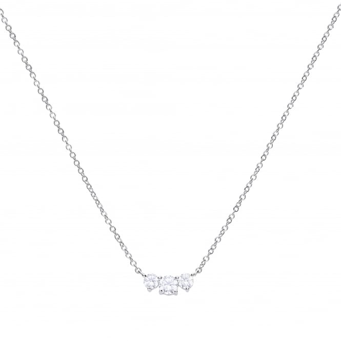 Diamonfire Sterling Silver Three Stone CZ Necklace