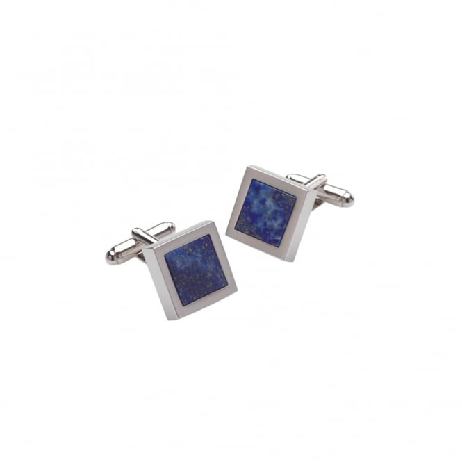 Duncan Walton Silver And Blue Mensa Lapis Cufflinks