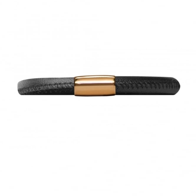 Endless Jewellery Black Single Gold Plate Leather Bracelet