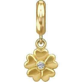 Gold Plated Heart Flower CZ Drop Charm