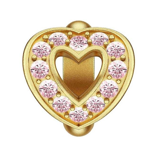 Endless Jewellery Gold Plated Pink Love Heart Charm