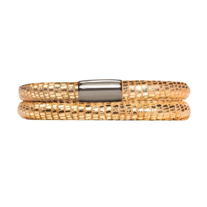 Endless Jewellery Jennifer Lopez Gold Double Leather Reptile Bracelet
