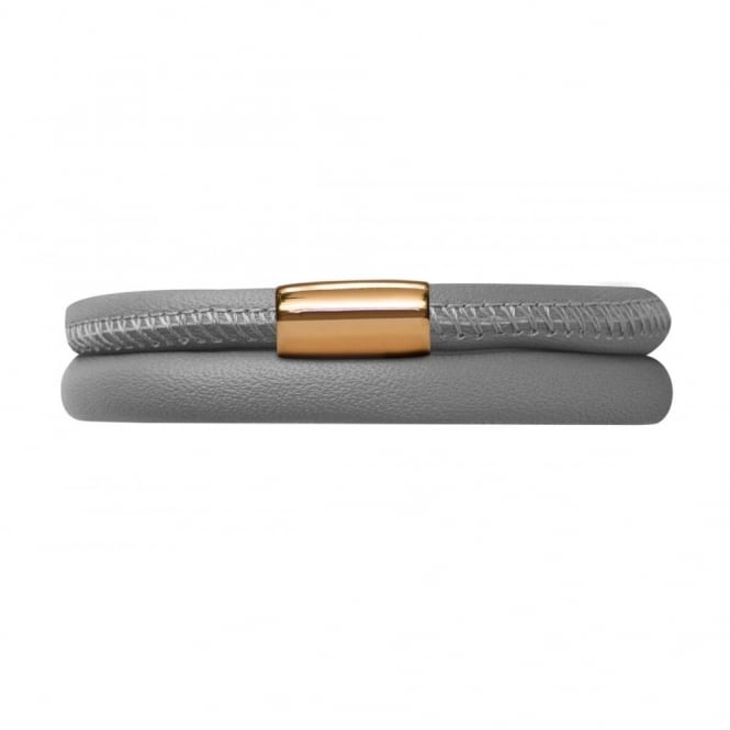Endless Jewellery Grey Double Leather Gold Plate Bracelet